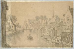De Vleutensewetering bij Utrecht, met rechts de achtererven van enkele huizen aan de Vleutenseweg en de kapel van het St. Jobsgasthuis; op de achtergrond de Achtermolen