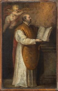 Sint Ignatius van Loyola met de handen op grondwet van de Jezuïten, kijkend naar het Christogram IHS