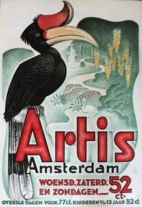 Artis-Affiche: 'Neushoornvogel met landschap op de achtergrond'