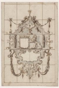 Ontwerp voor een glasraam met ornamenten en een leeuw bij een wapenschild