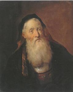 Portret van een oude man met kap