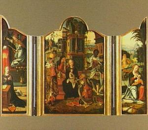 De aanbidding der wijzen, geflankeerd door de annunciatie en de Madonna, die het Kind voedt tijdens de rust op de vlucht naar Egypte