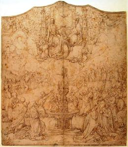 De kroning van Maria en aanbidding van het Lam Gods