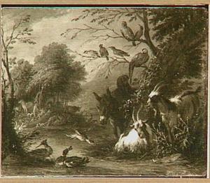 Het paradijs met op de achtergrond de Zondeval (Genesis 3:6)