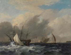 's Lands oorlogsschip 'Amsterdam' voor de Westerlaag op het IJ voor Amsterdam