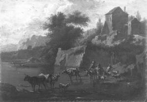 Italianiserend landschap met reizigers en herders bij een doorwaadbare plaats in de rivier