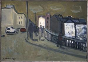 Stadsgezicht Luik met wandelaars op brug