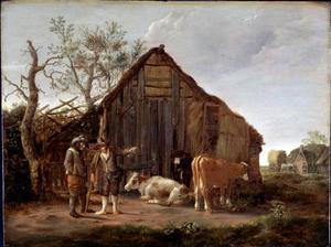 Boeren en koeien voor een schuur