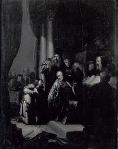Judas brengt de dertig zilverlingen terug naar de Sanhedrin
