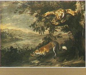 Landschap met roofvogel en vos