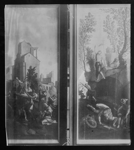 De kruisdraging (links), de opstanding (rechts)