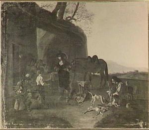 Rustende jagers bij een herberg (de staande jager in het zwart is een vrouw in mannenkleren)