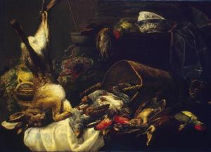 Stilleven van jachtbuit en vruchten op een tafel en een kat