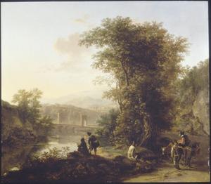 Zuidelijk landschap met Ponte Lucano over de Aniene en het graf der Plautii