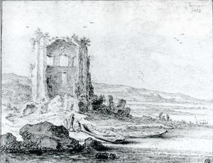 Fantasiegezicht met de ruïnes van de tempel van Minerva Medica in Rome