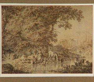 Italianiserend landschap met figuren bij een beek