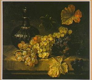 Druiven en een wijnfles op een stenen plint