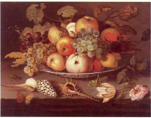 Stilleven van vruchten op een porseleinen schaal, met daarvoor schelpen, insekten en bloemen