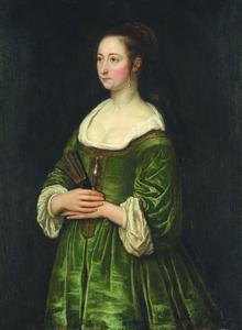 Portret van een jonge vrouw met een zwarte sluier