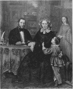 Portret van Lucas Oldenhuis Gratama (1815-1887), Lubberta Matthia Schukking (1815-1860) en twee van hun kinderen
