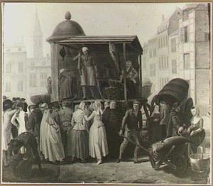 Viskraam met groep klanten op een stadsplein