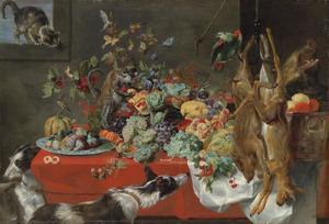 Stilleven van fruit noten en bessen met een kat, vogels, een papegaai, een eekhoorn, een aap, honden en een everzwijnen hoofd
