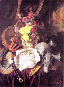 Stilleven met vaas bloemen, muziekinstrumenten en een harnas