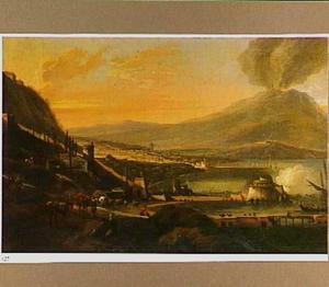 Gezicht op Napels; in de verte de Vesuvius