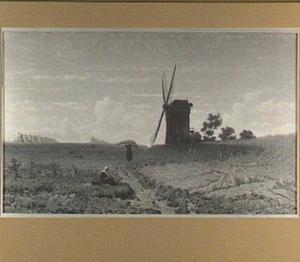 Landschap met molen en figuren op een pad