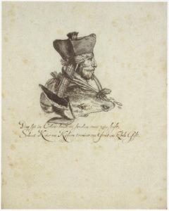 Portret van de bisschop van Keulen, gecombineerd met een ezelskop