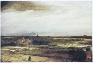 Panoramalandschap met een gezicht op Haarlem