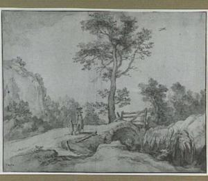 Heuvellandschap met brug en figuren