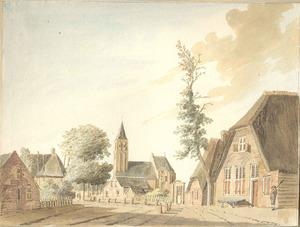 Gezicht in het dorp Druten met de kerk