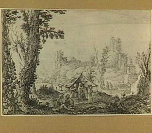Landschap met herders bij een hut