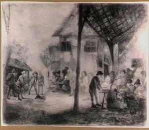 Drinkende en kegelende boeren op de binnenplaats van herberg 'De Zwaan'