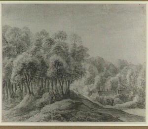 Heuvelachtig boslandschap met figuren