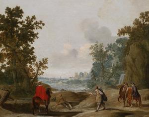 Reizigers, ruiters en een bedelaar in een landschap