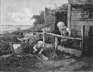 Twee kinderen voor een huis een schildersdoos bekijkend