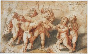 De triomf van Silenus, uitgebeeld door putti