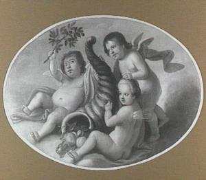 Drie putti in de wolken spelend met de hoorn des overvloeds en een palmtak