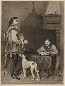 Interieur met een briefschrijvende officier en een bode