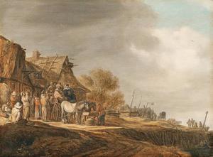 Halthoudende reizigers, paard en wage bij een herberg