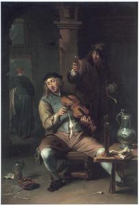Herberginterieur met een violist