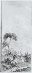 Landschap met figuren aan een waterkant en een ruiter op een brug