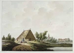 Landschap met gezicht in het dorp Gelllicum vanuit het zuiden
