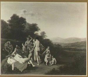 Arcadisch landschap met nimfen en satyrs