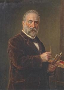 Zelfportret van de schilder Ludwig Ferdinand Knaus (1829-1910)