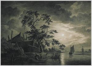 Rivierlandschap bij maanlicht