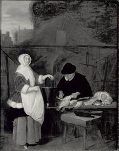 Jonge vrouw bij een viskraam met een verkoopster