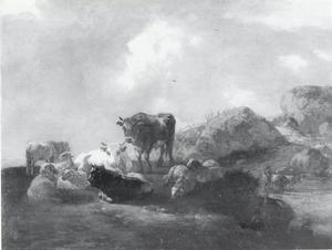 Landschap met koeien en schapen